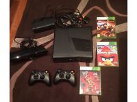 XBOX 360 Console, Two Controllers, Kinect and 3 Games