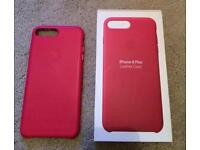 Genuine IPhone 7/8 Plus Leather case in Fuchsia