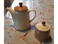 Denby teapot and sugar bowl