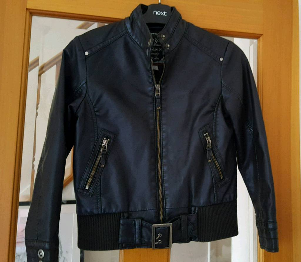 Girls Next Leather Look Jacket Age 9/10
