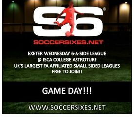 Join your local Exeter Wednesday 6aside league today!