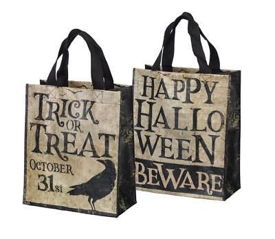 HAPPY HALLOWEEN Trick or Treat Tote Bag Primitives by Kathy 8'' x 10'' Candy Bag](Trick Or Treat Halloween Tote Bag)