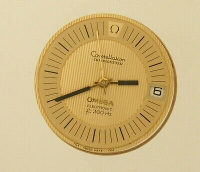 Omega Electronic Solid Gold dial f300 Hz + movement & hands