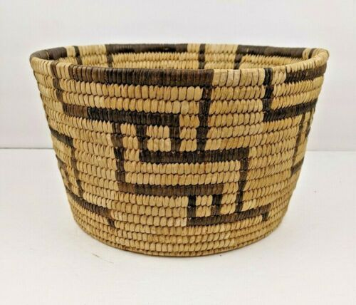 """LARGE ANTIQUE VINTAGE 10"""" by 6"""" NATIVE PAPAGO PIMA INDIAN HAND WOVEN BASKET"""