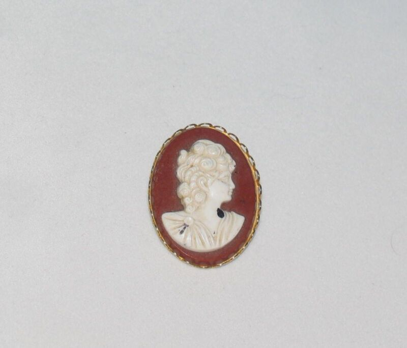VICTORIAN LADY CAMEO PIN BROOCH VINTAGE JEWELRY