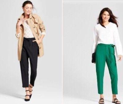 Crepe Tie - NWT  Womens A New DayStraight Leg Tie Waist Crepe Pants S Thru XXL Black & Green