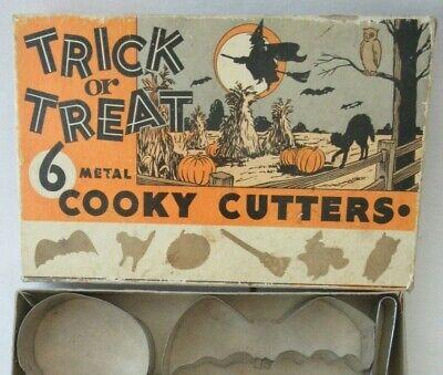 Trick or Treat 6 Metal COOKY Cookie CUTTERS in Original Box HALLOWEEN