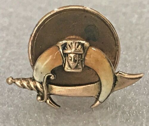 Vintage Shriners Pin Golden Masonic Scimitar Crescent Star Pharaoh
