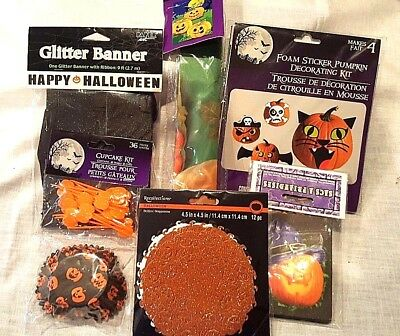 Pumpkin Theme Halloween Party Banner Flag Cupcake Kit Treat Bag Stickers 6 Items