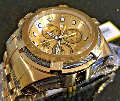 @New Invicta 52mm Bolt Zeus Quartz Chronograph Gold Tone Bracelet Watch 23913