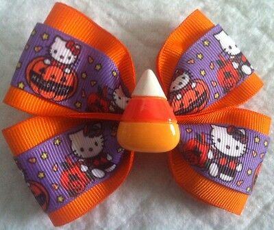 "Girls Hair Bow 4"" Wide Halloween Hello Kitty Candy Corn Flatback Alligator Clip"