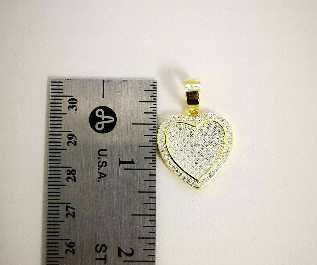 1 Ct Diamond Pendant Womens Necklace Heart Shape in 14K Yellow Gold over Chain 8