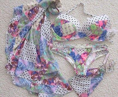 3 Piece Victoria Secret Con 34DD Mesh Bali Patchwrk bikini Large Sarong Cover up 3 Piece Mesh Bikini