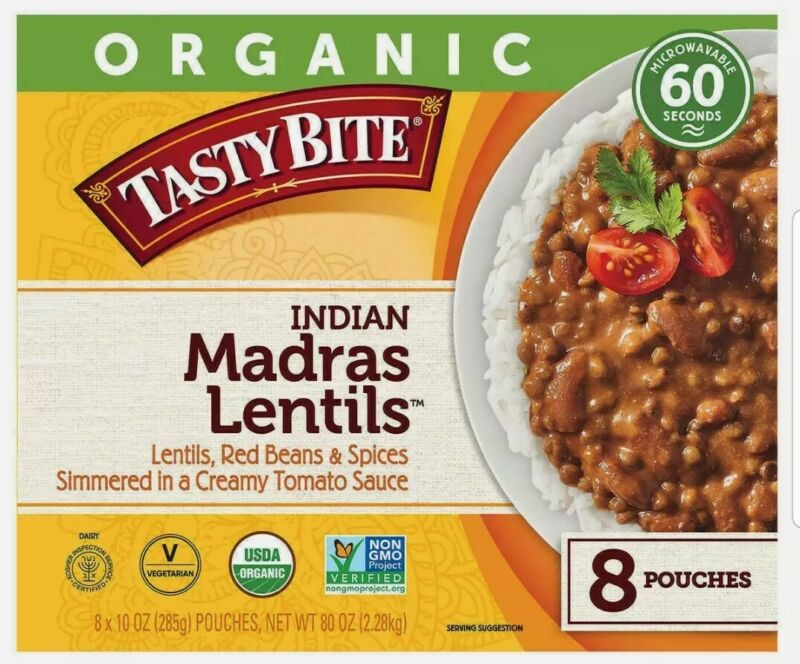 8-count Organic Tasty Bite Madras Lentils, 10 oz Pasta Food
