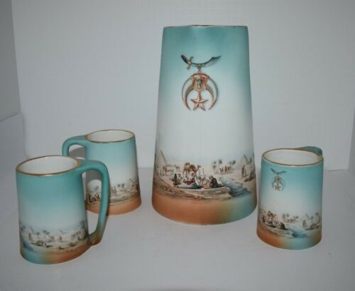 Vintage Shriner Tankard & Mugs Egyptian Copyright Pf & Co. NY 1907 Rare Find