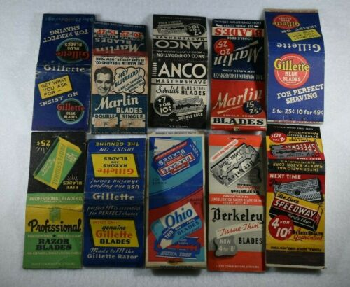 Lot of 10 Rare Early SHAVING BLADE Matchbooks-Gillette,Ohio,Berkeley,Speedway