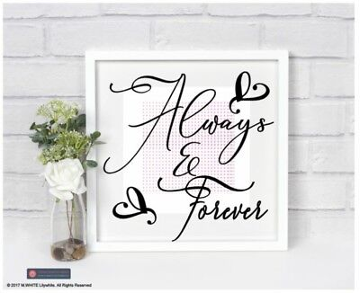 Always and Forever Sticker - Vinyl Sticker for Picture Frame - Wedding/Valentine - Always And Forever Movie