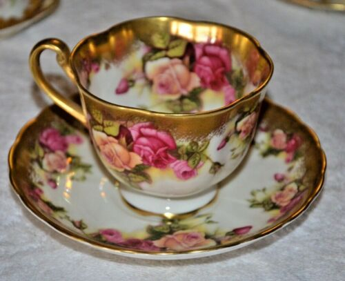 Vintage ROYAL CHELSEA GOLDEN ROSE English Bone China TEA CUP & SAUCER Gilted