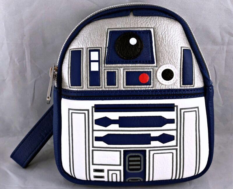 Disney Parks R2-D2 Star Wars Loungefly Backpack Wristlet Bag - NEW