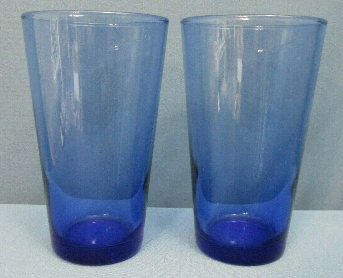 Set of 2 ~ LIBBEY GLASS ~ 18 fl oz TUMBLERS COOLERS ~ FLARE BLUE MEDITERRANEAN