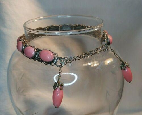 Antique VICTORIAN Coral Pink Czech Glass BRACELET with TASSEL Closure