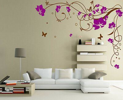 Large Floral Vine Flower Butterfly Wall Sticker Vinyl Art Decal UK SH57