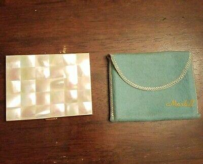 Vintage Marhill Mother of Pearl Cigarette Case w/cloth bag
