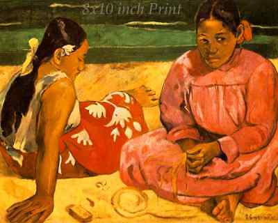 Two Women on the Beach by Paul Gauguin - Girls Tahiti  8x10 Print Picture 1619