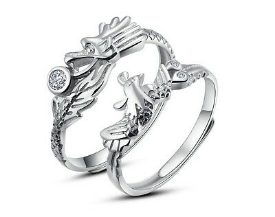 925 Sterling Silver Couple Dragon and Phoenix Ring Promise Adjustable Open Ring Fashion Jewelry