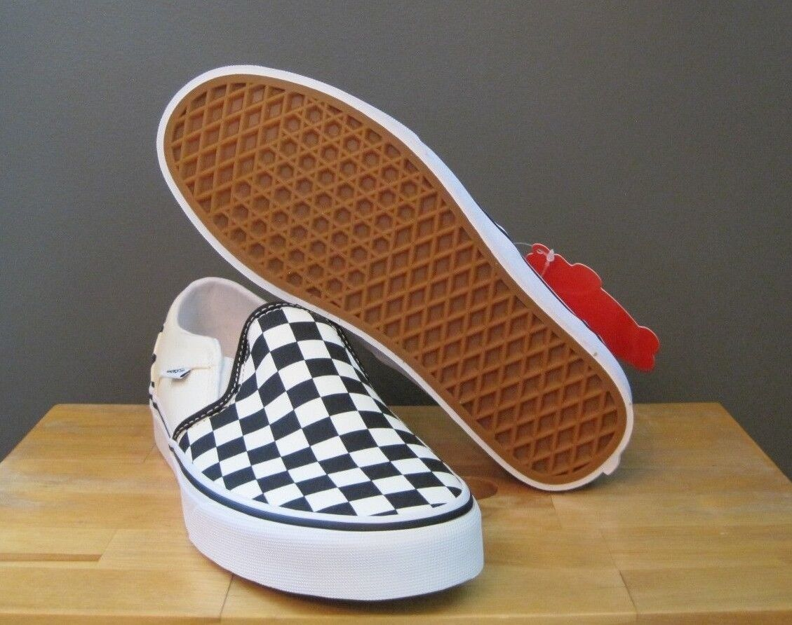 61fd0fdeef8 Sản phẩm Vans Women Checkerboard Black Off White Asher Slip On 7 7.5 ...