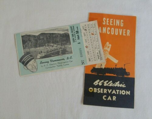 Vintage BC Electric Observation Street Car Ticket Brochure TEDDY LYONS Vancouver