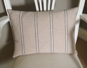 French Linen Look Vintage Blue/Beige Stripe Cushion Cover