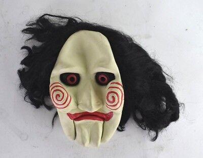 Jigsaw Scary Halloween Killer Clown Latex with Hair Mask Movie Clown](Jigsaw Masks Halloween)