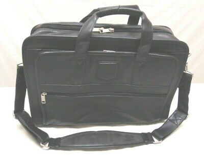 Top Grain Leather Laptop Bag Office Black Business Carrying Case Top Laptop Carrying Case
