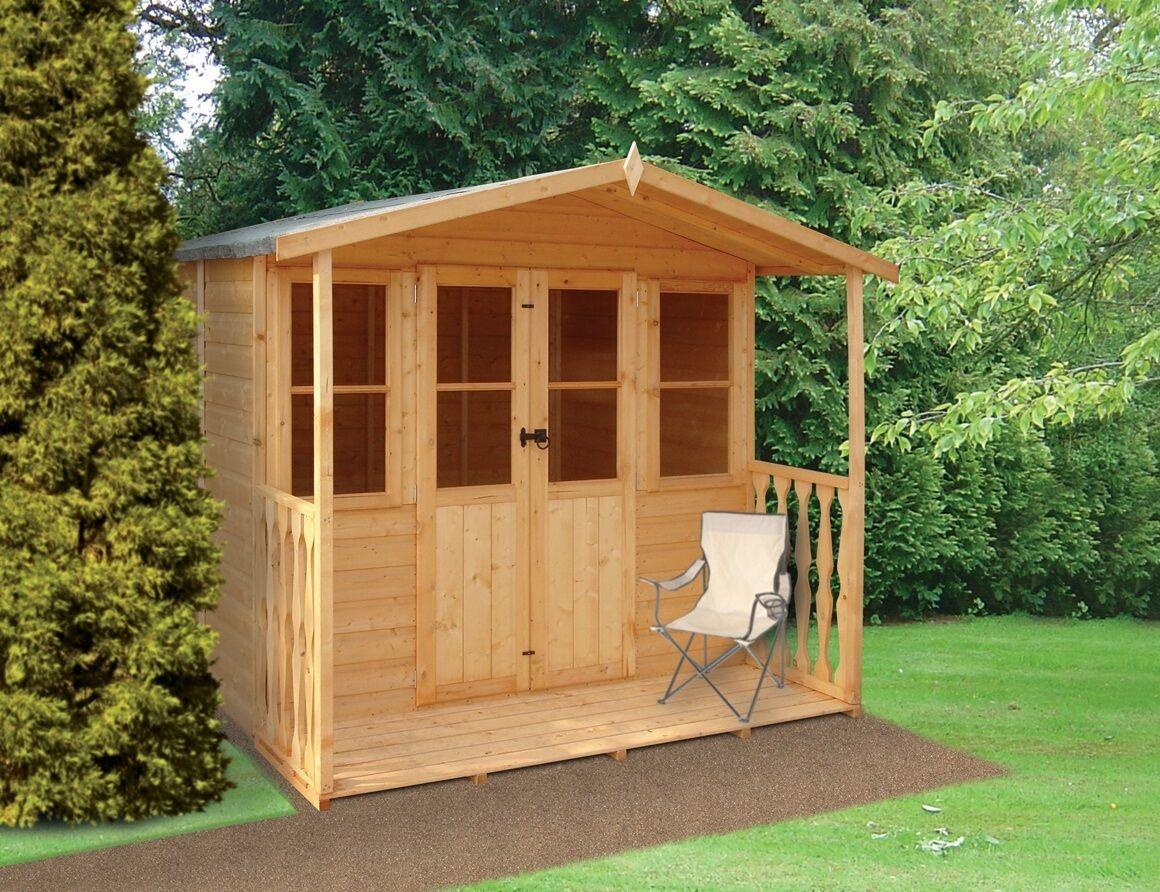 Garden wooden shed summerhouse 39 houghton 39 7 39 x5 39 2 39 veranda 12x120mm t g ebay - Garden summer houses with verandas ...