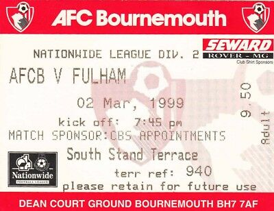 Ticket - Bournemouth v Fulham 02.03.99