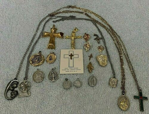 Lot of 21 Religious Medals, Necklaces, Pins