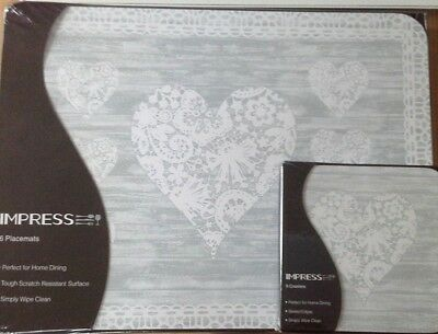 IMPRESS Grey Lace Hearts Set of 6 Place Mats Placemats and Matching Coasters-NEW