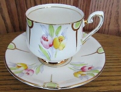 - Phoenix Tulips Floral Gold Gilt Bone China Tea Cup & Saucer England