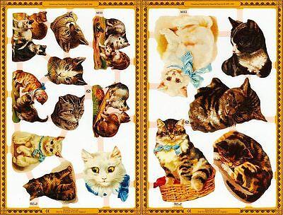Mamelok Golden Victorian Scraps - Die Cut Reliefs - A111 / A112, Cats (1).