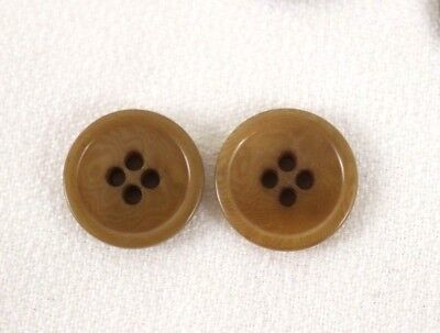 US Tan Tortoise shiny buttons size 13/16 inch 21 cm 32 L lot of 2 B2513