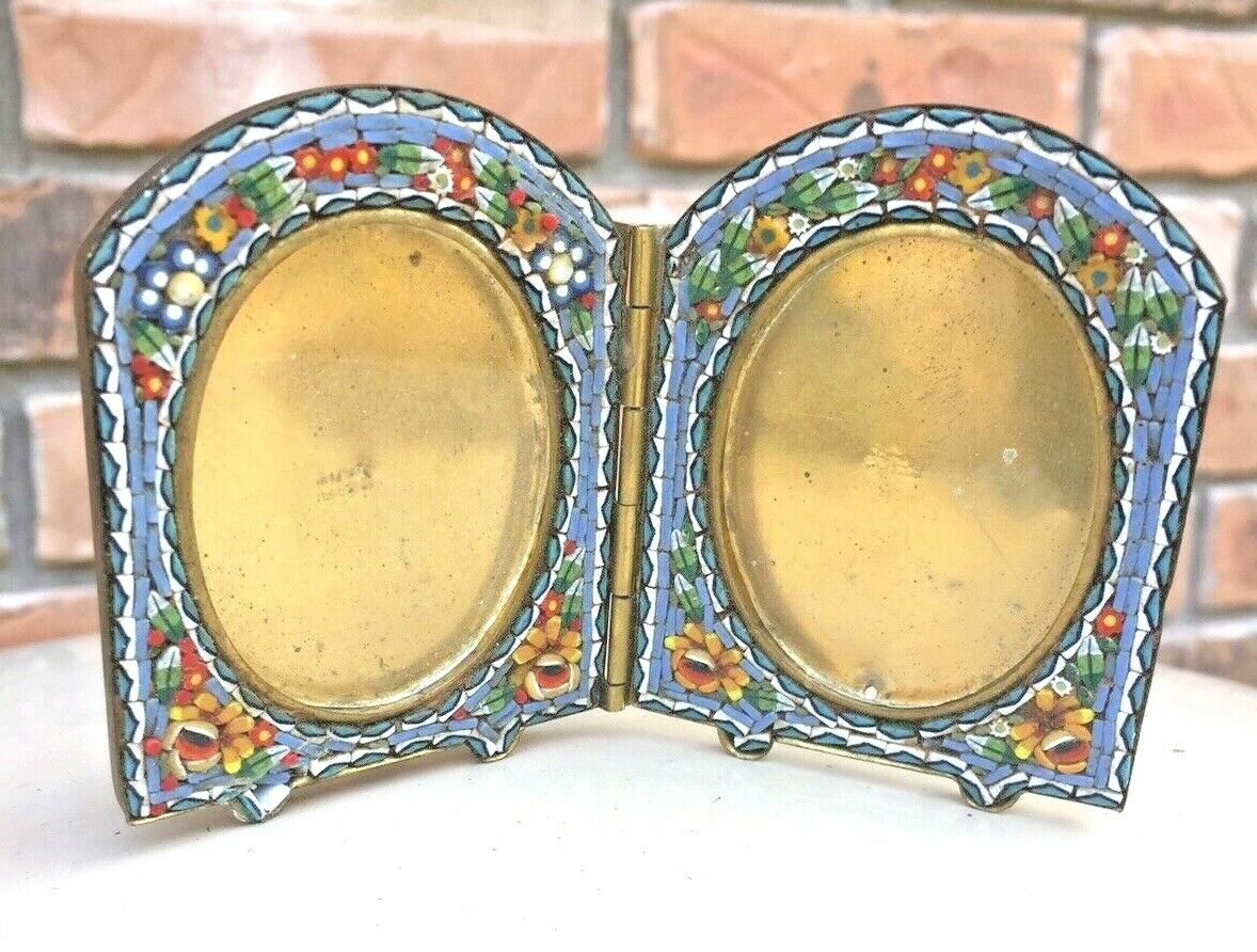 Antique Unusual Double Slate Blue Floral Micro Mosaic Frame  - $69.99