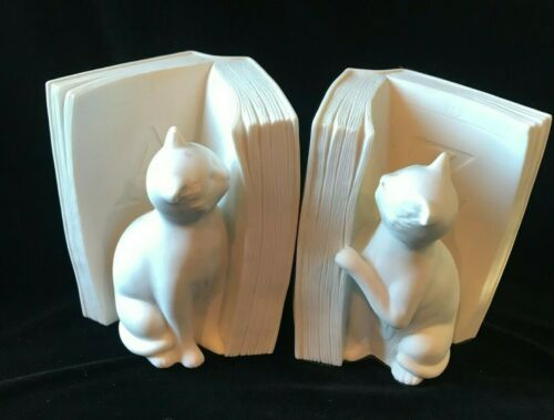 Cats Reading Books Bookends White Resin