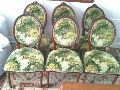 Vintage Antique Dining Chairs Scalamandre Marly Cut Velvet Fabric 6