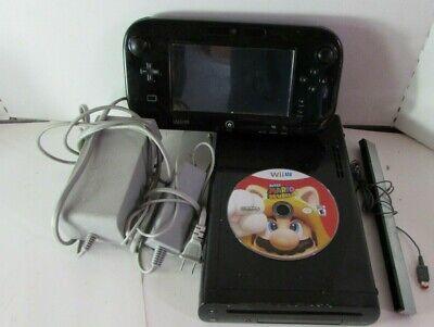 Black Nintendo Wii U Console / gamepad 32gb + Wires / Super Mario 3D World