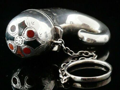 Antique Sterling Silver & Agate Vinaigrette of Snuff Horn Form, Birmingham 1899