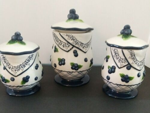 MWW Market Blueberry Cobbler Canister Set of 3 Ceramic Blueberries Jars Vintage