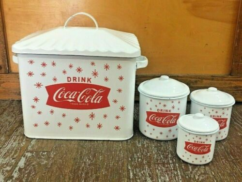 Coca Cola Metal Enamel Kitchen Bread Box & Canister 3 Pc Set With Lid Enamelware