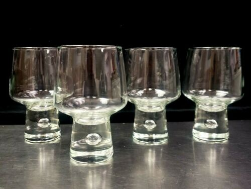 """4 Vintage Mid-Century Modern Trapped Air Bubble 5 1/2"""" Goblet Glass Kosta Boda ?"""