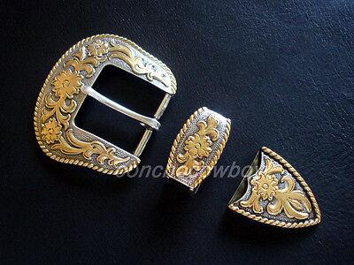 """WESTERN COWBOY GOLD FLORAL ENGRAVED ROPE EDGE BELT BUCKLE SET FITS 1-1/2"""" BELT"""
